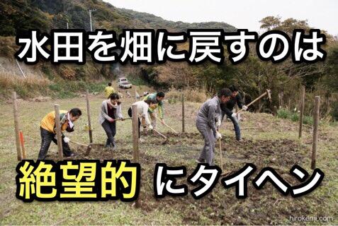 一度水田にしてしまった土地を畑に戻すことのタイヘンさを痛感した開墾作業体験