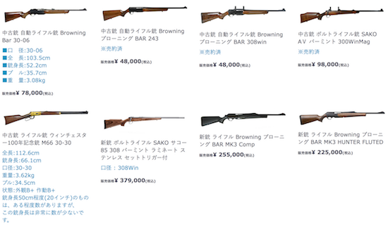 猟銃のラインナップ