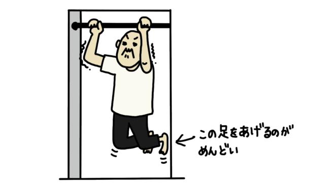 ドアの高さがないので足を上げて懸垂をしている図